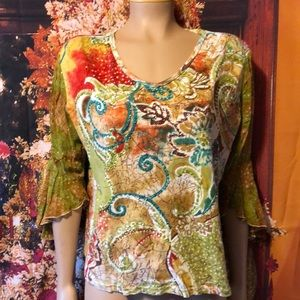 Bila Woman Large Top Sequins and Swirl